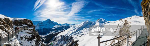 Switzerland, Canton of Bern, Grindelwald, view from First Cliff Walk on Eiger and mountainside of the Reeti