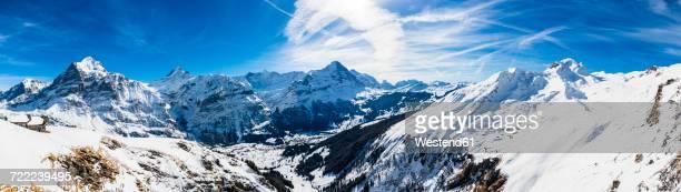 Switzerland, Canton of Bern, Grindelwald, view from First Cliff Walk on Eiger, Mittelhorn, Schreckhorn and Wetterhorn