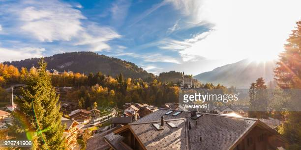 Switzerland, Canton of Bern, Gstaad, townscape with Gstaad Palace Hotel