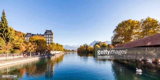 switzerland, canton of bern, thun, river aare, art museum, aarequai and sluice bridge - altstadt stock-fotos und bilder