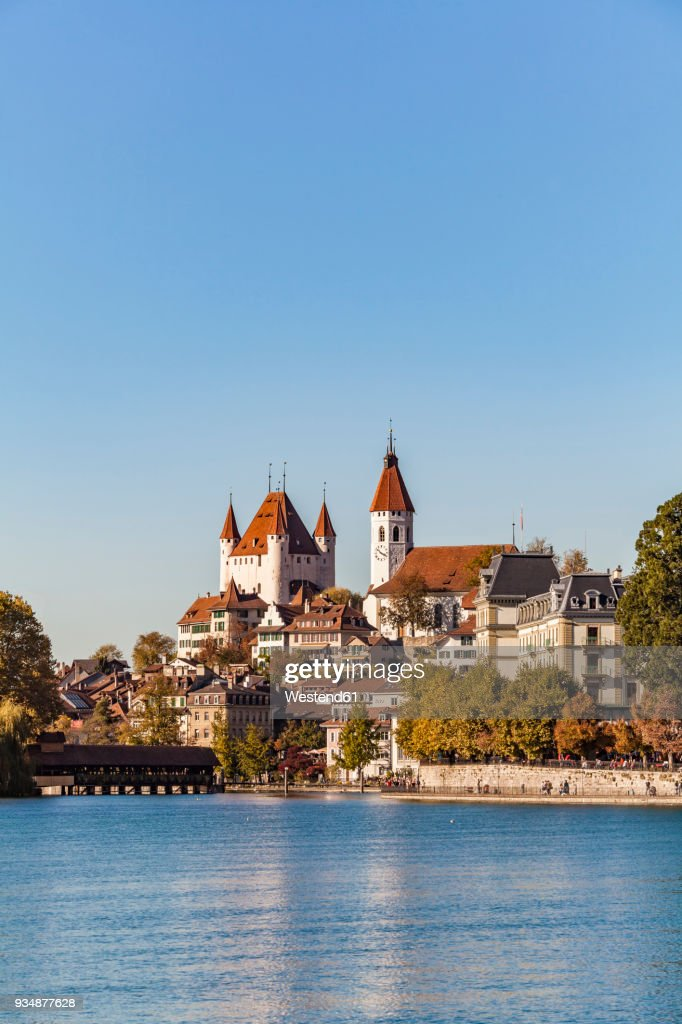 Switzerland Canton Of Bern Thun River Aare Old Town With Aarequai