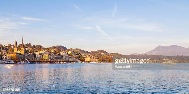 Switzerland, Canton of Lucerne, Lucerne, Lake Lucern with excursion boat