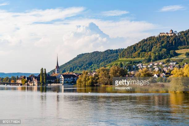 switzerland, canton of schaffhausen, stein am rhein, rhine river, cityscape with hohenklingen castle - bodensee stock pictures, royalty-free photos & images