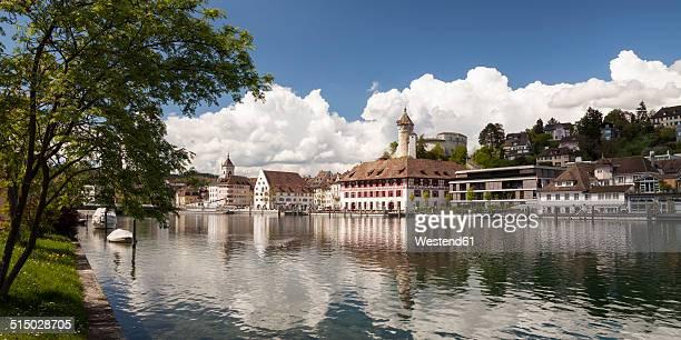 Switzerland, Canton of Schaffhausen, View of Schaffhausen with Munot Castle, High Rhine river