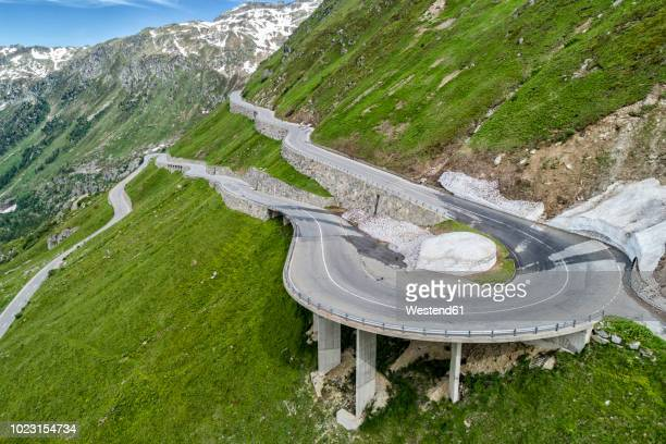 switzerland, canton of uri, urseren valley, furka pass - hairpin curve stock photos and pictures