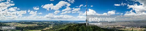 Switzerland, Canton Zurich, Zurich, Panoramic view with telecommunication tower
