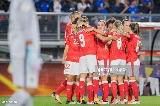 Switzerland celebrate a goal of AnaMaria Crnogorcevic of Switzerland women during the UEFA WEURO 2017 Group C group stage match between Switzerland...