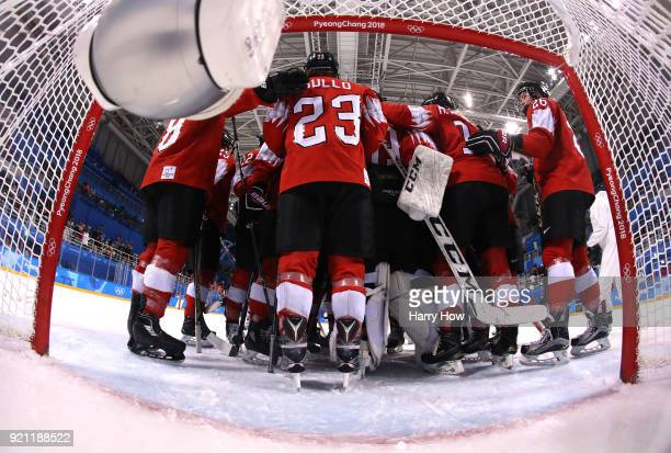 Switzerland celebrate after defeating Japan 10 during the Women's Ice Hockey Classification game on day eleven of the PyeongChang 2018 Winter Olympic...