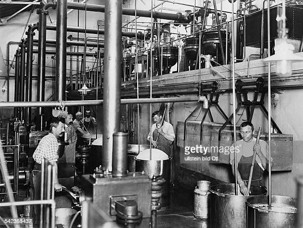 Switzerland chocolate manufacturer 'Kohler' factory workshop workers at the milk condensation no date image is part of a series