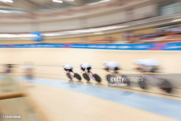 Switzerland compete against the Russian Federation in the men's cycle team pursuit during the 2019 Minsk European Games on the 28th June 2019 in...