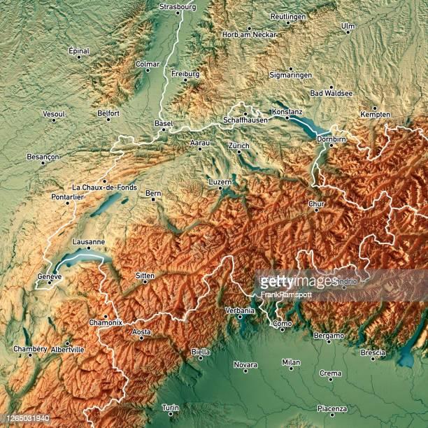 schweiz land 3d render topografische karte grenzstädte - topografische karte stock-fotos und bilder