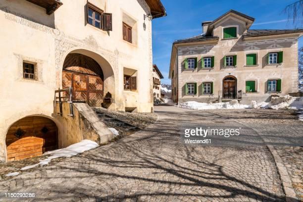 switzerland, engadin, guarda, historic mountain village - guarda switzerland stock pictures, royalty-free photos & images