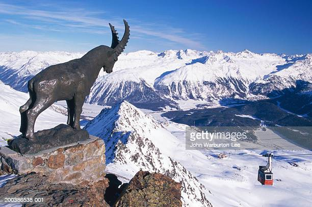 Switzerland, Engadine Valley, St Moritz, ibex statue on Piz Nair