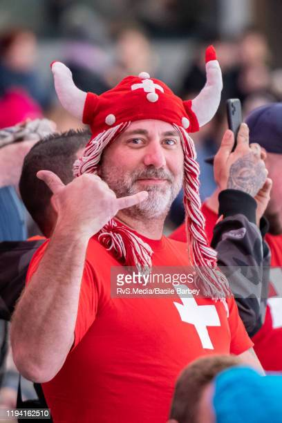 Switzerland fan cheers before Women's 6-Team Tournament Preliminary Round - Group B game between Czech Republic and Switzerland at the Lausanne 2020...