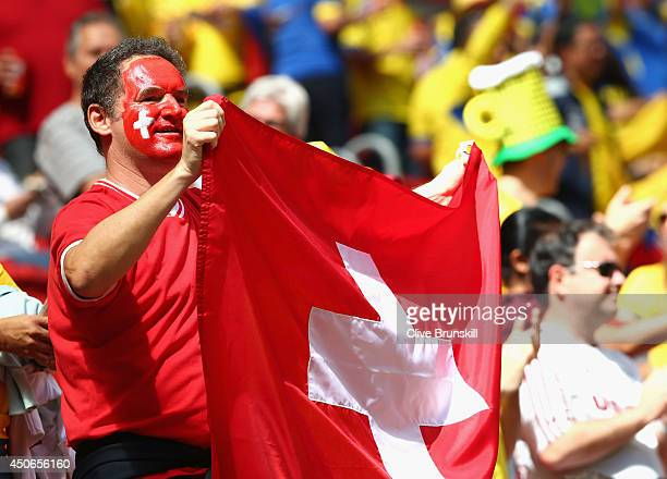 Switzerland fan with a painted face holds a flag during the 2014 FIFA World Cup Brazil Group E match between Switzerland and Ecuador at Estadio...