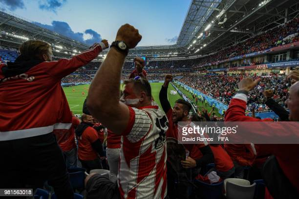 Switzerland fans celebrate following Granit Xhaka of Switzerland first goal during the 2018 FIFA World Cup Russia group E match between Serbia and...
