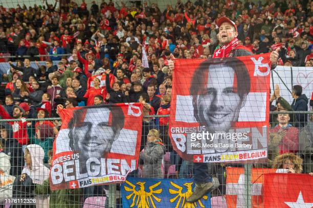 Switzerland fans celebrate the win with banners of Goalkeeper Yann Sommer of Switzerland after the UEFA Euro 2020 qualifier between Switzerland and...