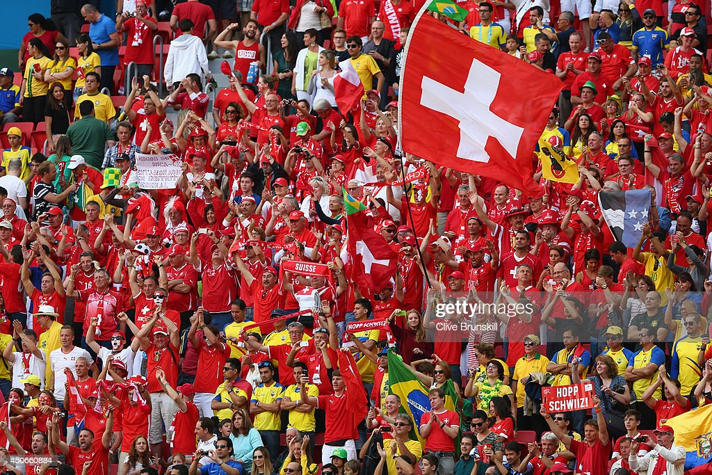 Switzerland fans cheer during the 2014 FIFA World Cup Brazil Group E match between Switzerland and Ecuador at Estadio Nacional on June 15, 2014 in Brasilia, Brazil.