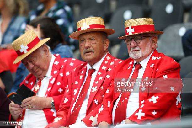 Switzerland fans enjoy the pre match atmosphere ahead of the UEFA Nations League Third Place Playoff match between Switzerland and England at Estadio...