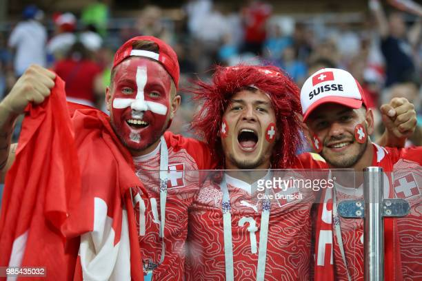 Switzerland fans enjoy the pre match atmosphere prior to the 2018 FIFA World Cup Russia group E match between Switzerland and Costa Rica at Nizhny...