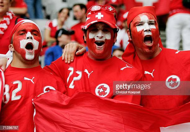 Switzerland fans show their colours before the FIFA World Cup Germany 2006 Group G match between Togo and Switzerland at the Stadium Dortmund on June...