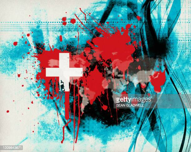 switzerland flag splatter - funky stock pictures, royalty-free photos & images