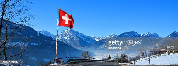 switzerland flagg in the swiss Alp