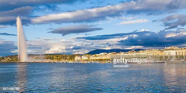Switzerland, Geneva, Lake Geneva with fountain Jet dEau