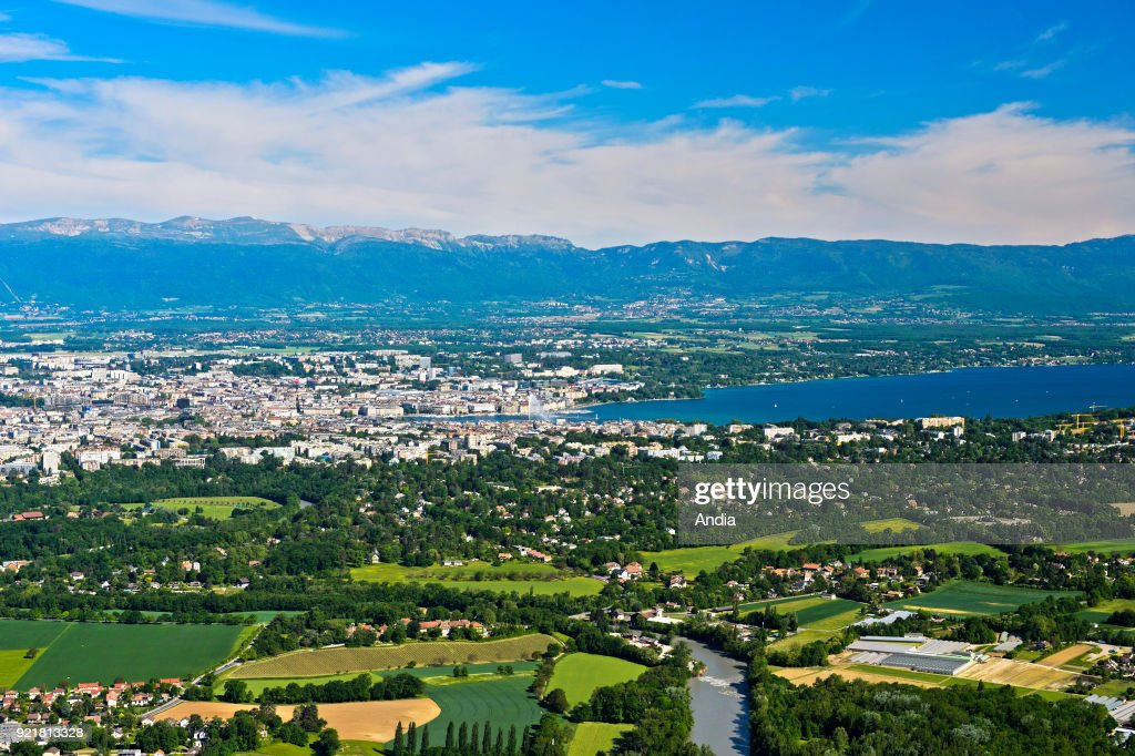 panoramic view from the Saleve mountain, Geneva and Lake Geneva ('Lac Leman').