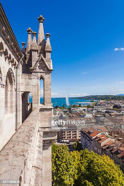 Switzerland, Geneva, view from Saint-Pierre cathedral to city and Lake Geneva