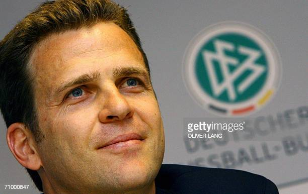 German team manager Oliver Bierhoff addresses a press conference at the Stade de Geneve in Geneva 21 May 2006 after the German football team arrived...
