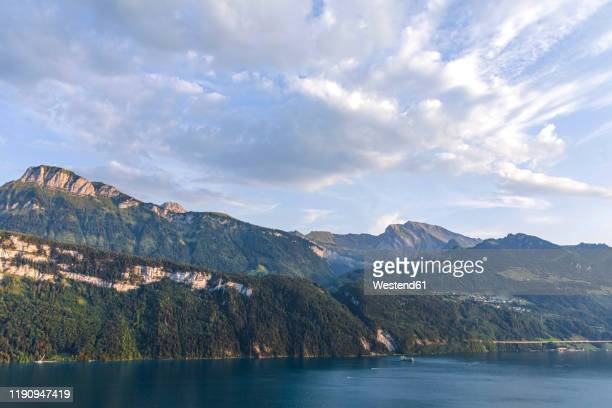 switzerland, gersau, schwyz, scenic view of clouds over lake lucerne and high forested cliffs in summer - schwyz stock pictures, royalty-free photos & images