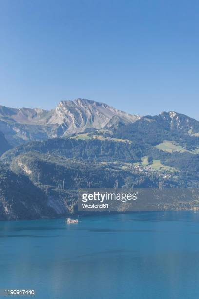 switzerland, gersau, schwyz, scenic view of lake lucerne and high forested cliffs in summer - schwyz stock pictures, royalty-free photos & images