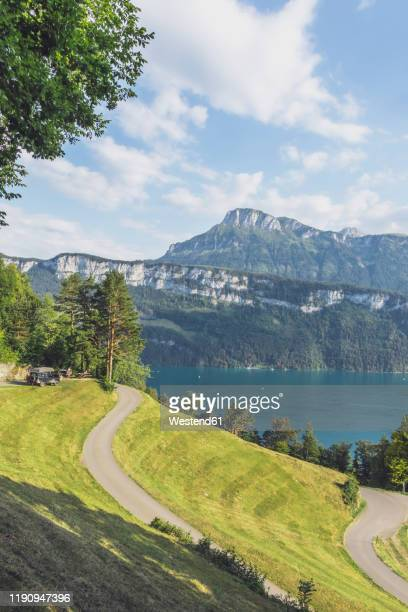 switzerland, gersau, schwyz, winding road with high forested cliff and lake lucerne in background - schwyz stock pictures, royalty-free photos & images