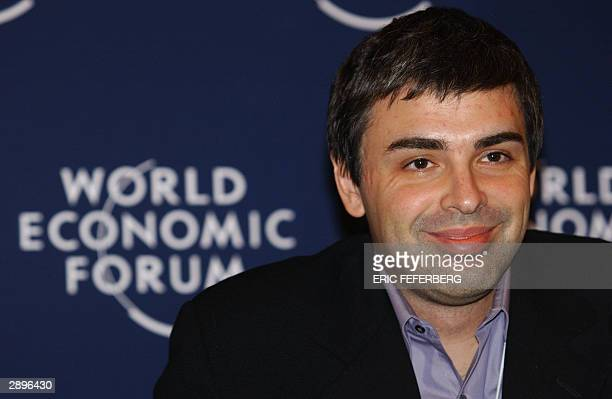 Google CoFounder and President Larry Page smiles during the An Open Source Model for Creating Value conference 24 January 2004 at the World Economic...