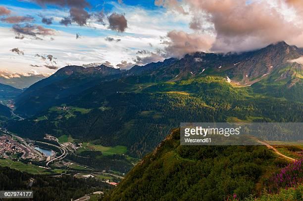 Switzerland, Gotthardpass, Swiss Alps at sunset in Summer