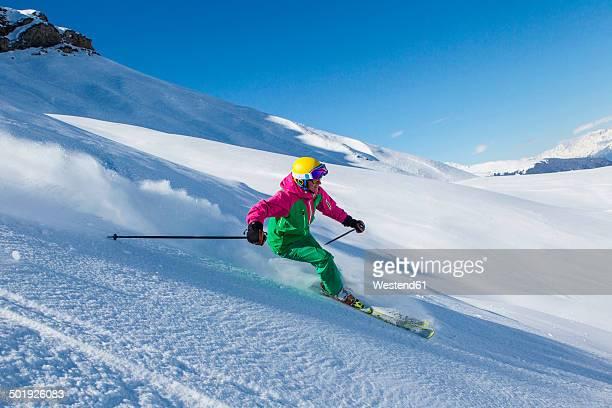 Switzerland, Graubuenden, Obersaxen, female Skier