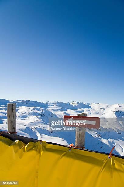 Switzerland, Graubuenden, Savognin, Direction sign in Alps