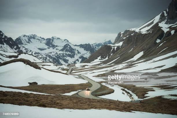 Switzerland, Grisons, Car on Albula Pass