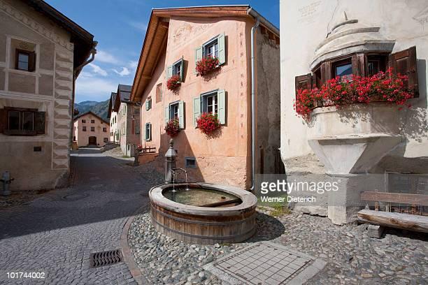 Switzerland, Grisons, Engadin, Village of Guarda