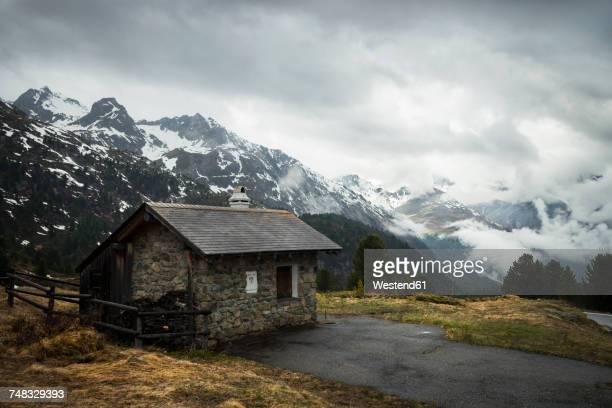 Switzerland, Grisons, Mountain hut at Albula Pass