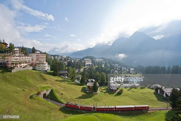 switzerland, grisons, railroad, arosa in background - アロサ ストックフォトと画像