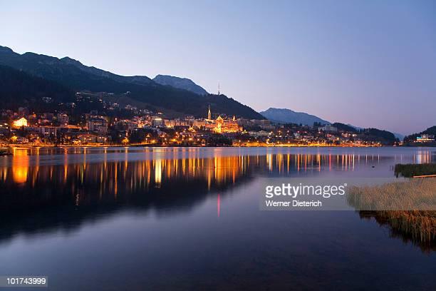 Switzerland, Grisons, St. Moritz with Lake St. Moritz at night