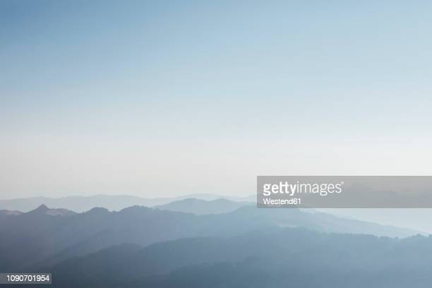 switzerland, grosser mythen, sunrise above alpine landscape - nebel stock-fotos und bilder