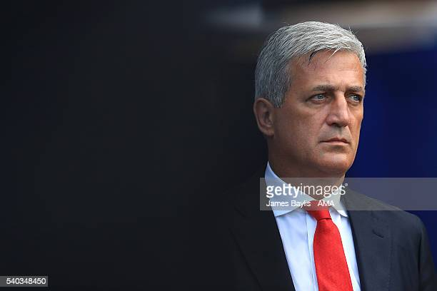 Switzerland Head Coach / Manager Vladimir Petkovic looks on during the UEFA EURO 2016 Group A match between Romania and Switzerland at Parc des...