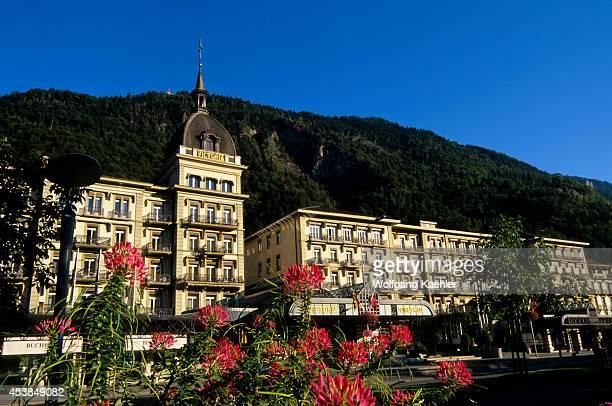 Switzerland Interlaken Grand Hotel Victoria Jungfrau Flowers In Foreground