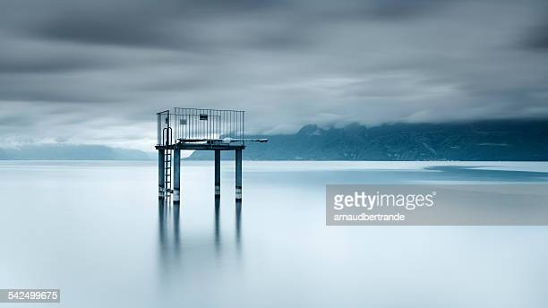 Switzerland, Lac Leman, View of diving platform