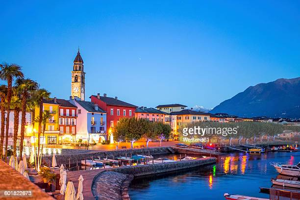 Switzerland, Lago Maggiore, Ascona, blue hour