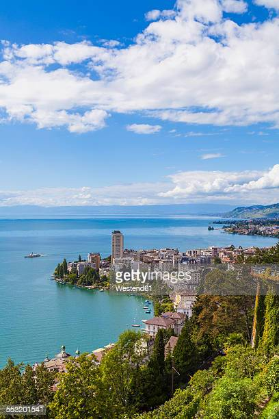 switzerland, lake geneva, montreux, cityscape with paddlesteamer - montreux stock pictures, royalty-free photos & images