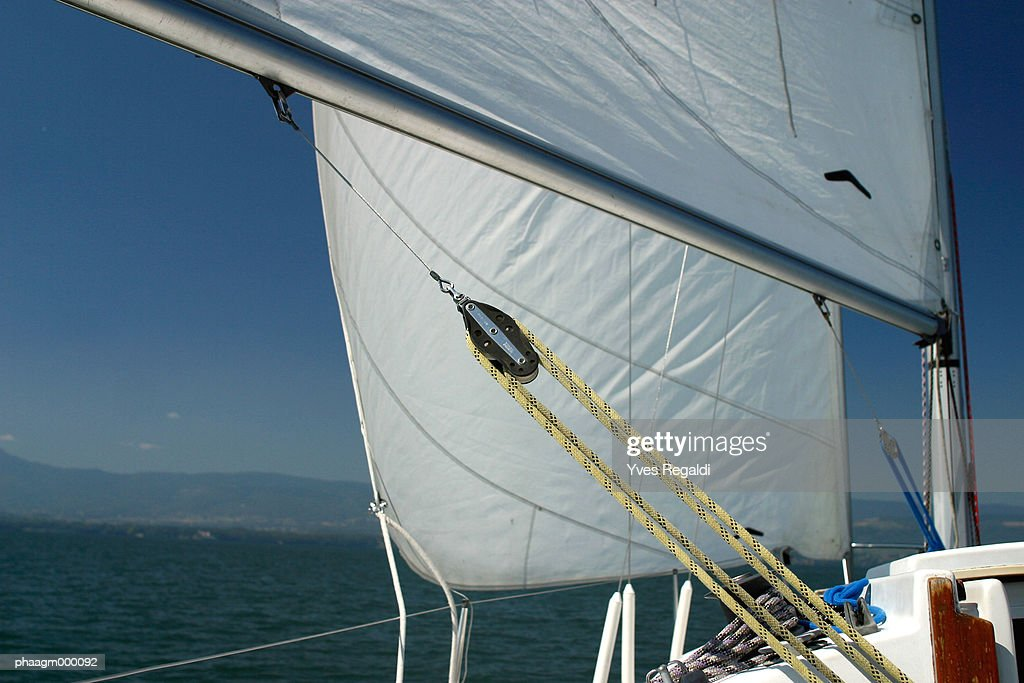 Switzerland, Lake Leman, sail boat, close-up : Stock-Foto